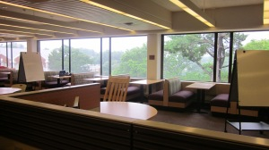 View of part of the Learning Commons floor of the undergraduate library at the University of Virginia